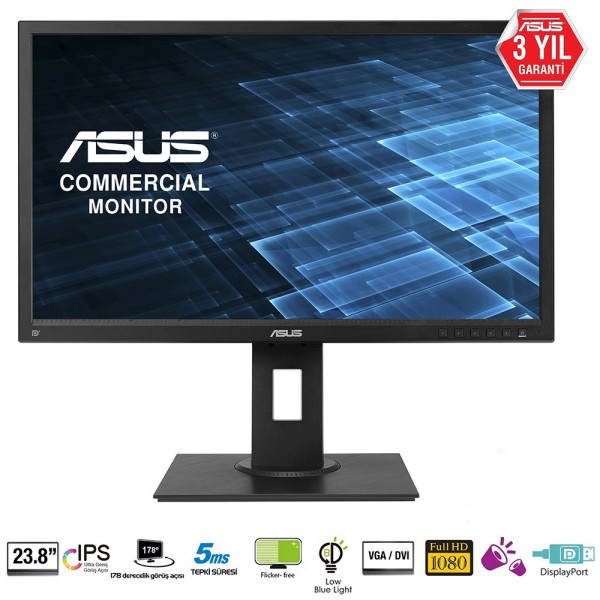 "ASUS 23.8"" PRO BE249QLB 60Hz 5ms VGA DVI-D DP FHD IPS Pivot Monitör Outlet Pikselli Ürün"
