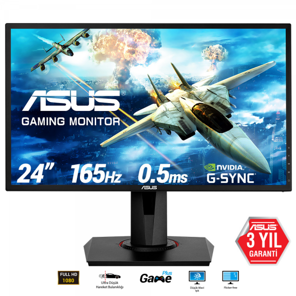 "ASUS 24"" VG248QG 165Hz 0.5ms DVI HDMI DP FreeSync ve G-Sync Uyumlu Gaming Monitör Outlet Pikselli Ürün"