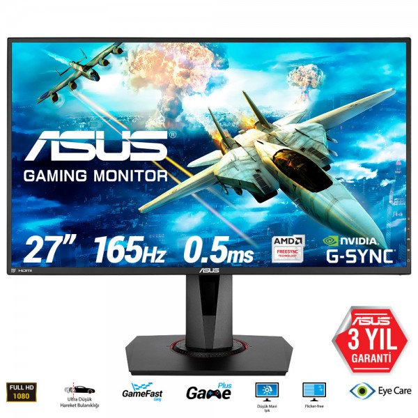 "ASUS 27"" VG278QR 165Hz 0.5ms DVI-D HDMI DP Freesync ve G-sync Uyumlu Gaming Monitör Outlet Pikselli Ürün"