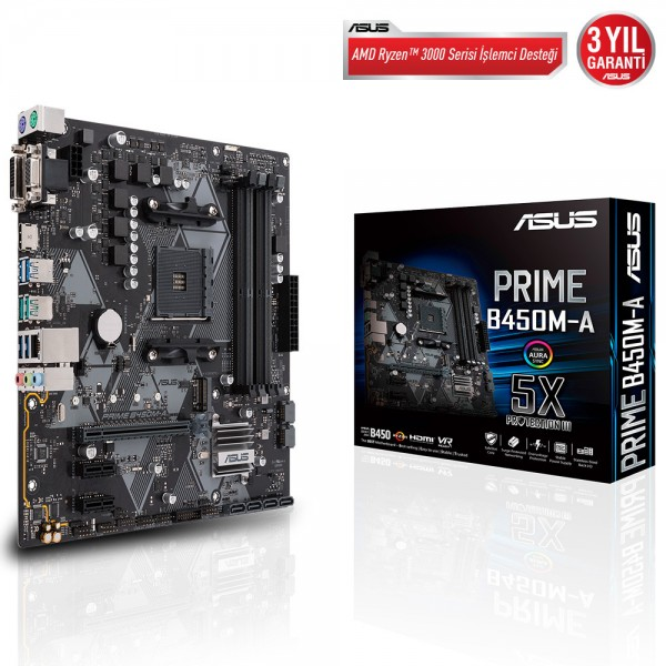 ASUS PRIME B450M-A 4400MHz(OC) DDR4 Soket AM4 M.2 VGA DVI HDMI mATX ANAKART