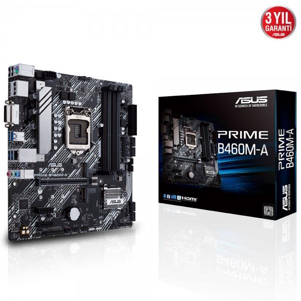 ASUS PRIME B460M-A 2933MHz DDR4 Soket 1200 M.2 HDMI DP DVI mATX Anakart