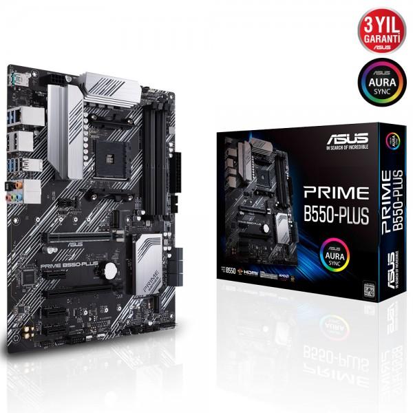 ASUS PRIME B550-PLUS 4600MHz(OC) DDR4 Soket AM4 M.2 DP HDMI ATX Anakart