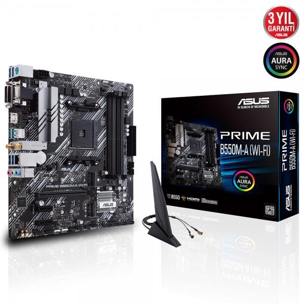 ASUS PRIME B550M-A (WI-FI) 4600MHz(OC) DDR4 Soket AM4 M.2 HDMI VGA DVI mATX Anakart