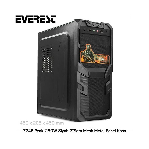 Everest 724B Peak-250W Mid Tower Mesh Kasa Siyah