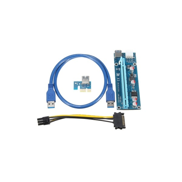 Riser Kart PCI-E 1x to 16x 6pin (Ver: 009S)