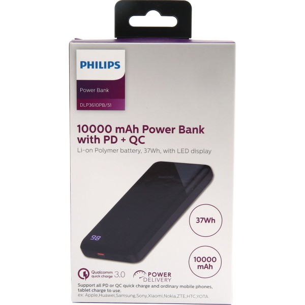 Philips Power bank 10000 mAH+WiTH PD 37wh DLP3610PB